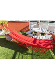 Cotton hammock with braided fringes 4M x 1,6M - XINGU TR VERMELHA