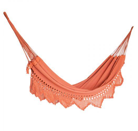Terracotta color recycled cotton hammock with macramé 4.2M x 1.6M - XINGU TR/ML TERRACOTA
