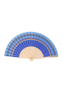 Navy blue hand fan in cotton and wood - EVENTAIL VINCENT