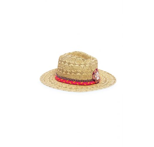 Straw hat decorated with pink beads  - CRUISE PINK