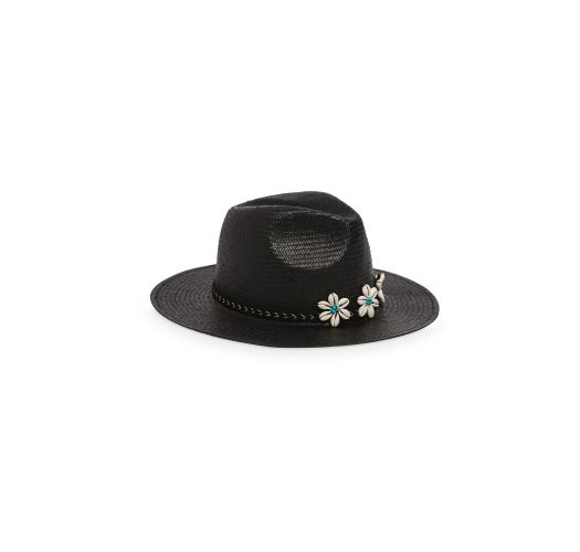 Black straw hat decorated with shells - ISOLA BLACK