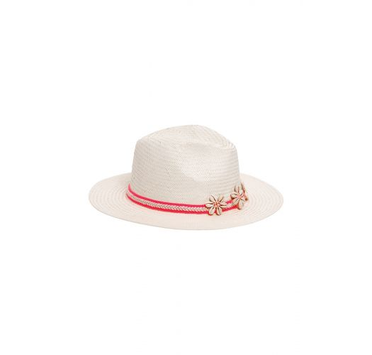 White straw hat with shells and belt - ISOLA WHITE