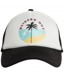 Black tropical trucker cap with back mesh - ACCROSS WAVES POOLSIDE