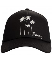 Black trucker cap with palm trees and back mesh - ALOHA FOREVER BLACK MULTI