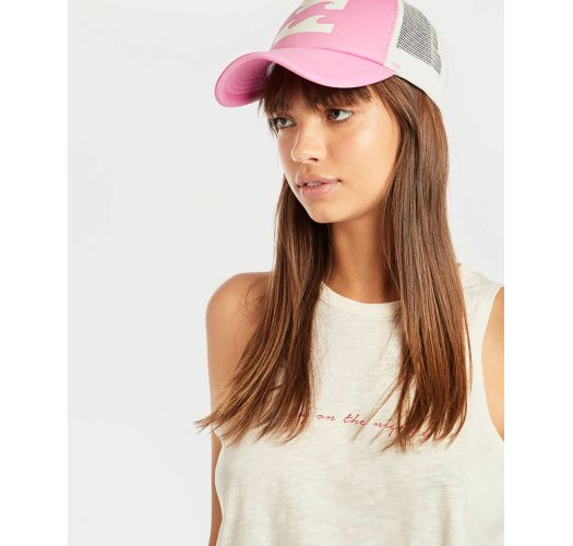 Printed pink trucker cap with back mesh - BILLABONG TRUCKER PRETTY PINK