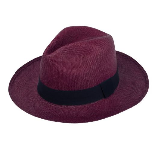 Genuine purple Panama hat made from toquilla straw - PANAMA WINE
