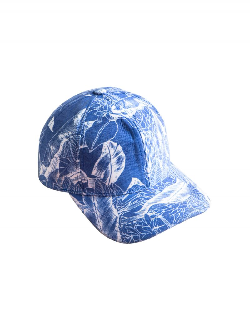 Blue and white floral print cap - HERITAGE LOVELY CAP