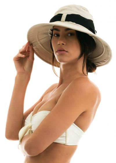 Beige hat with a black tied bow - CHAPEAU BIARRITZ AREIA