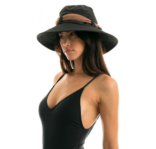 Black beach hat with a beige tied bow - CHAPEAU BIARRITZ PRETO/KAKI