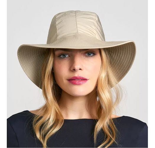 Beige hat with a white tied bow - CHAPEAU MONACO KAKI