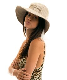 Beige hat with a white tied bow - CHAPEAU MONACO KAKI