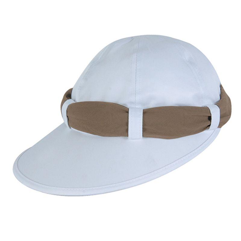 White feminine cap and beige tie - VISEIRA ANTIBES BRANCO/OCRE