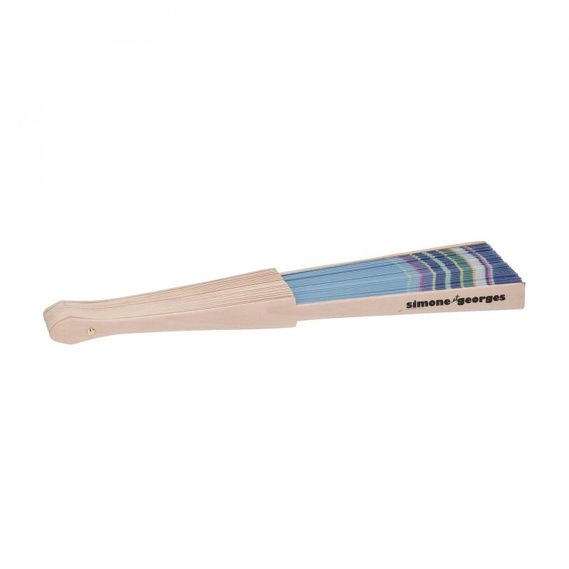 Blue fan - cotton and wood - EVENTAIL CAP FERRET