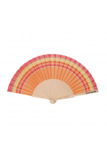 Orange & red fan - cotton and wood - EVENTAIL SPRITZ
