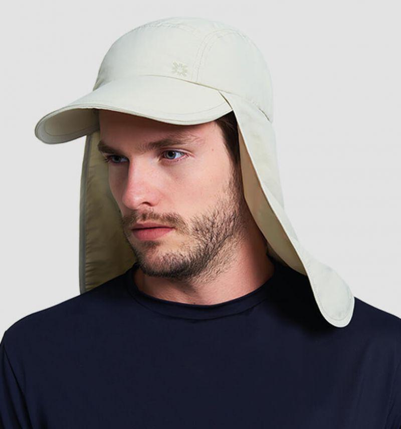 Beige cap with neck protection - SPF50 - BONÉ LEGIONÁRIO AREIA - SOLAR PROTECTION UV.LINE