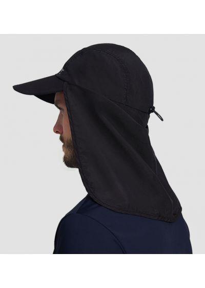 Black cap with neck protection - SPF50 - BONÉ LEGIONÁRIO PRETO - SOLAR PROTECTION UV.LINE