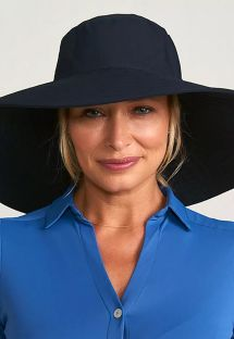Big elastic beach hat - black - CHAPEU BEVERLY HILLS PRETO - SOLAR PROTECTION UV.LINE