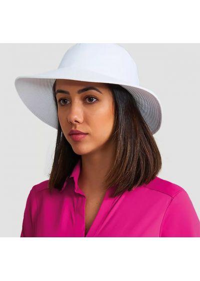 Мягкая шляпа белого цвета с местом для волос - CHAPEU CALIFORNIA BRANCO - SOLAR PROTECTION UV.LINE