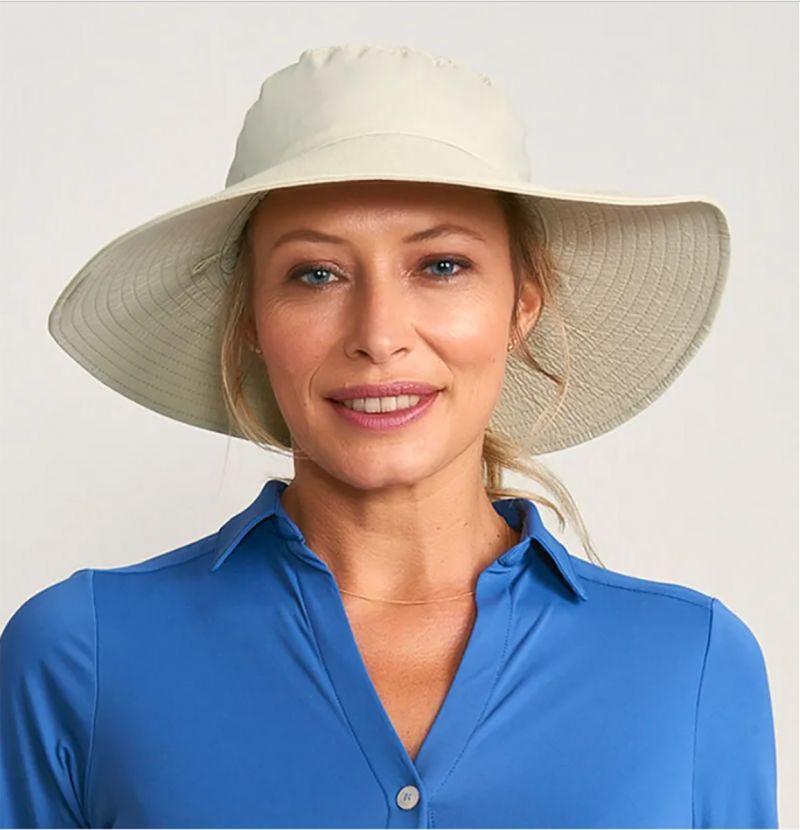 Beige elastic beach hat - CHAPEU LYON AREIA - SOLAR PROTECTION UV.LINE