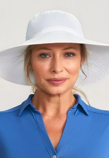 White elastic beach hat - CHAPEU LYON BRANCO - SOLAR PROTECTION UV.LINE