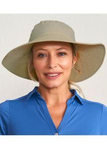Beżowy miękki kapelusz plażowy - CHAPEU LYON KAKI - SOLAR PROTECTION UV.LINE