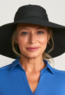 Black elastic beach hat - CHAPEU LYON PRETO - SOLAR PROTECTION UV.LINE