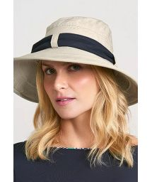 Beige beach hat with black bandana - CHAPEU PARIS VILLE AREIA - SOLAR PROTECTION UV.LINE
