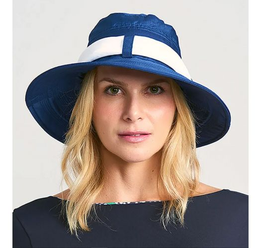 CHAPEU PARIS VILLE AZUL/BRANCO - SOLAR PROTECTION UV.LINE