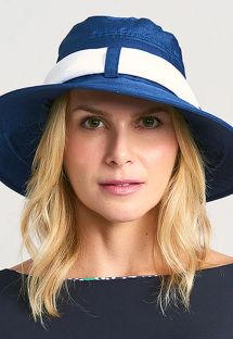 Blue beach hat with white bandana - CHAPEU PARIS VILLE AZUL/BRANCO - SOLAR PROTECTION UV.LINE