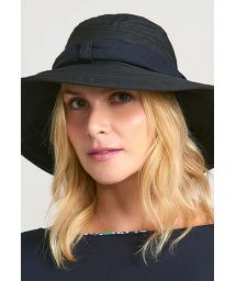 Black beach hat with bandana - CHAPEU PARIS VILLE PRETO - SOLAR PROTECTION UV.LINE