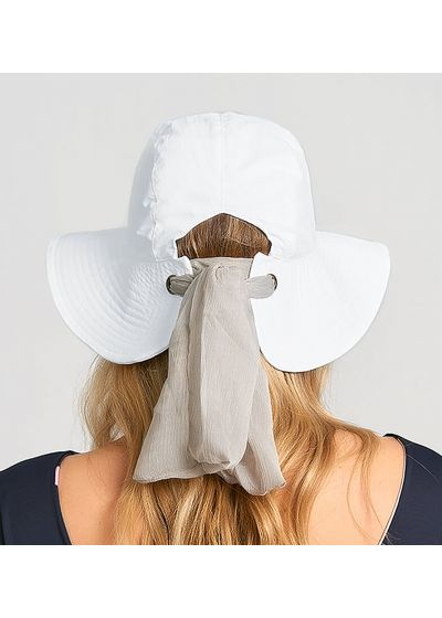 Vit hatt med knytbar bandana- CHAPEU SAN REMO BRANCO - SOLAR PROTECTION UV.LINE