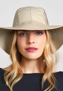 Ciemnobeżowy kapelusz plażowy z chustą - CHAPEU SAN REMO KAKI - SOLAR PROTECTION UV.LINE