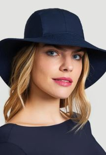Granatowy kapelusz plażowy z chustą - CHAPEU SAN REMO MARINHO - SOLAR PROTECTION UV.LINE