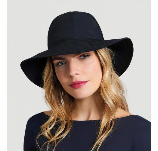 Cappello nero con bandana allacciata - CHAPEU SAN REMO PRETO - SOLAR PROTECTION UV.LINE