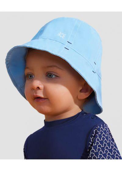 Blue soft hat for a little boy - UPF50 - CHAPÉU NAPOLI BASIC KIDS - AZUL - SOLAR PROTECTION UV.LINE