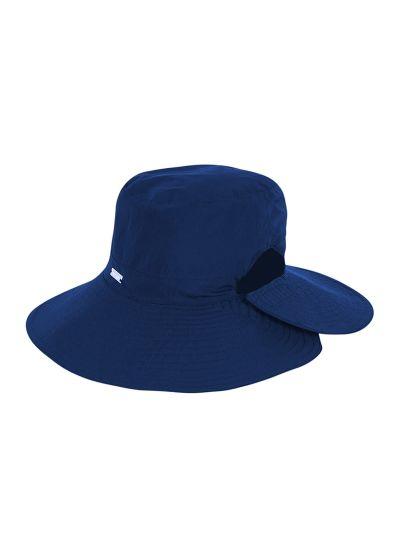 Hut mit breiter Krempe, Pferdeschwanz-Öffnung - SAN DIEGO INDIGO - SOLAR PROTECTION UV.LINE