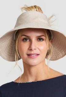 Beige elastic visor hat - TOKYO AREIA - SOLAR PROTECTION UV.LINE