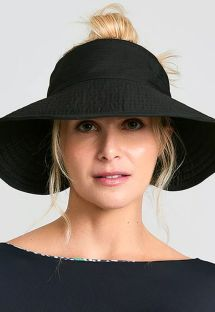 Black elastic visor hat - TOKYO PRETO - SOLAR PROTECTION UV.LINE