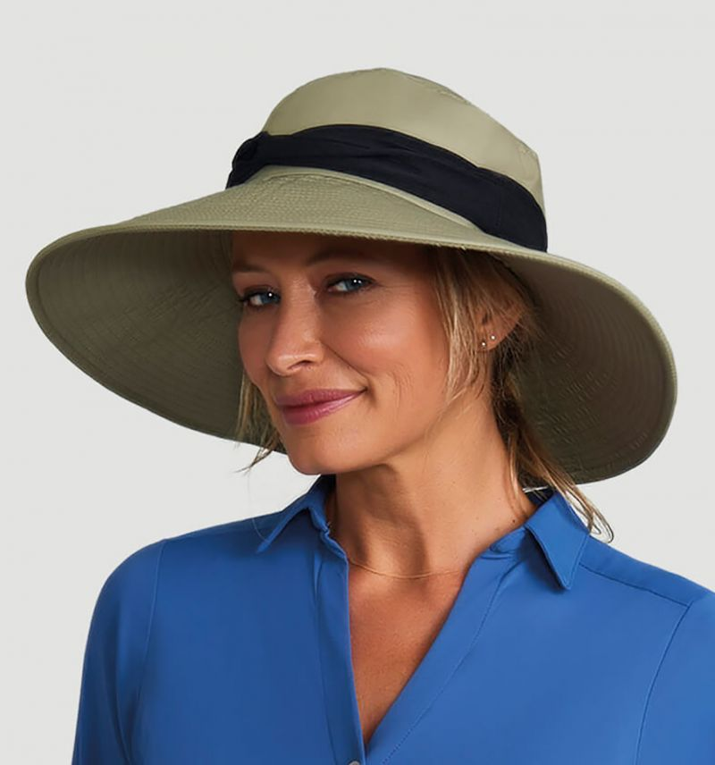 Khaki elastic hat with black band - VENEZA KAKI - SOLAR PROTECTION UV.LINE