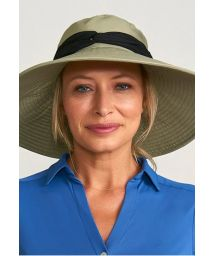 Khaki elastic hat with black band - VENEZA KAKI - SOLAR PROTECTION UV.LINE