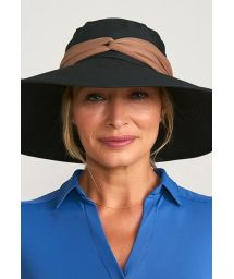 Black elastic hat with brown band - VENEZA PRETO - SOLAR PROTECTION UV.LINE