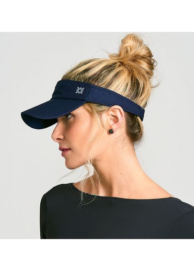 Marinblått sportvisir för kvinnor - VISEIRA ATHLETIC DRY MARINHO - SOLAR PROTECTION UV.LINE