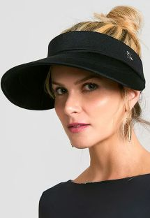 Satin black visor with elastic back - VISEIRA GRECIA PRETO