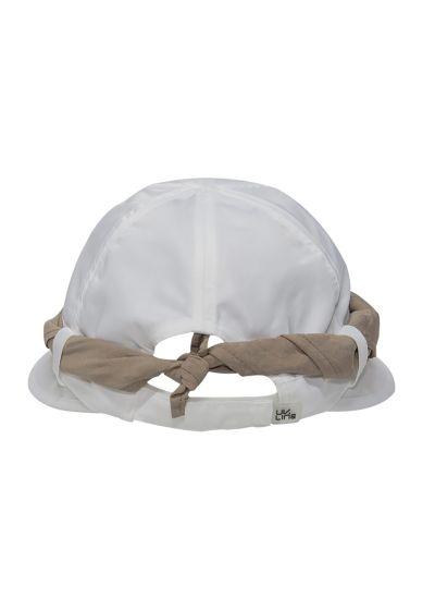 Women's white cap with khaki bandana - VISEIRA SAINT TROPEZ BRANCO/KAKI - SOLAR PROTECTION UV.LINE