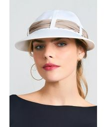 Women&#39s white cap with beige bandana - VISEIRA SAINT TROPEZ BRANCO/OCRE - SOLAR PROTECTION UV.LINE