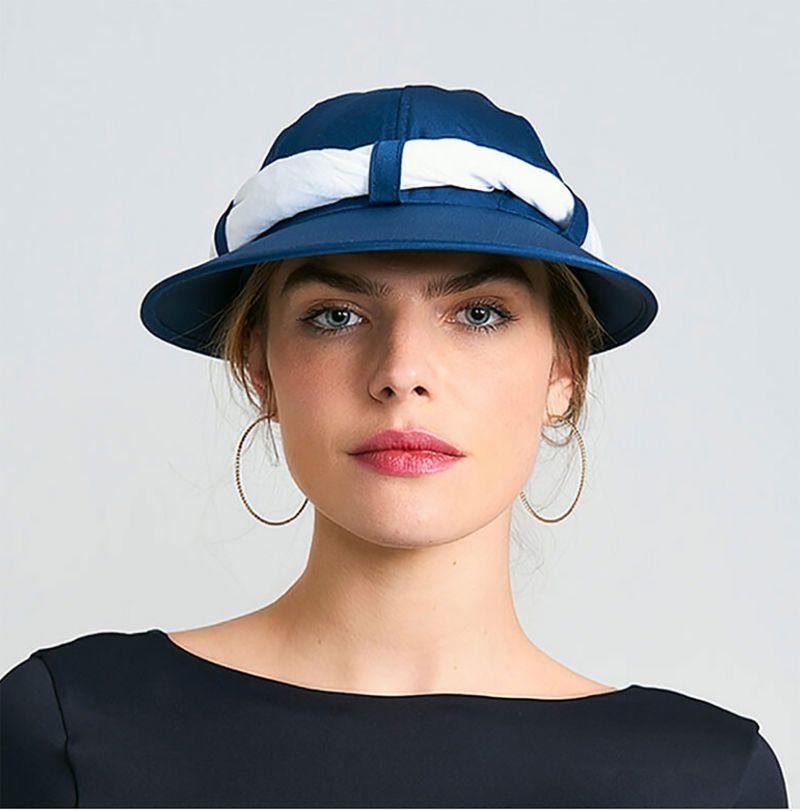 Women's navy cap with white bandana - VISEIRA SAINT TROPEZ MARINHO/BRANCO - SOLAR PROTECTION UV.LINE