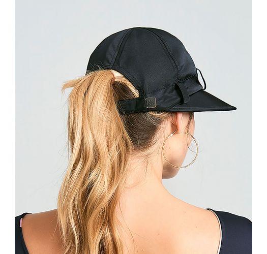 Women&#39s black cap with black bandana - VISEIRA SAINT TROPEZ PRETO - SOLAR PROTECTION UV.LINE