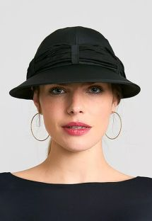 Women&#39s black cap with black bandana - VISEIRA SAINT TROPEZ PRETO - SOLAR PROTECTION UV.LINE