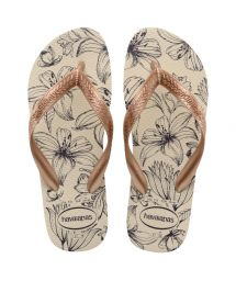 HAVAIANAS COLOR FLORAL BEGE PALHA ROSE GOLD