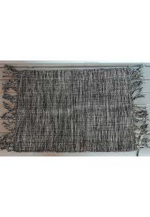 Graded black table mat with fringes - JOGO AMERICANO BLACK WHITE